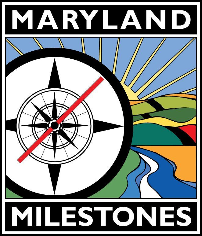 Logo for Maryland Milestones depicting a drawn compass with colorful landscape in background