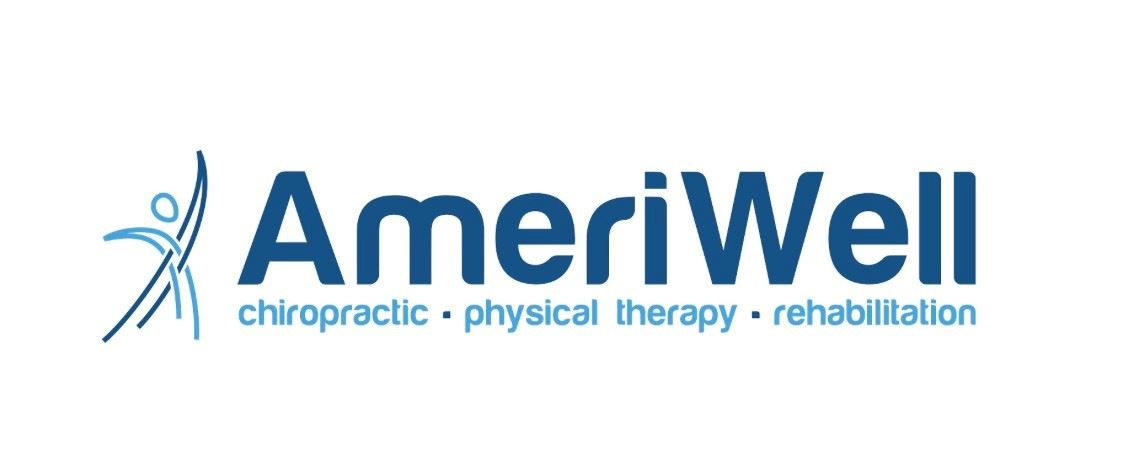 Logo for Ameriwell written in blue with a drawn dancing figure on the left.