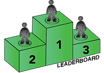 Drawn image of 1st, 2nd, and 3rd place green leaderboard blocks with stick figures standing on top.