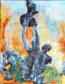Rise by Sharon Lee Minor. Artwork depicts genderless figures lifting up what seems to be a young fig